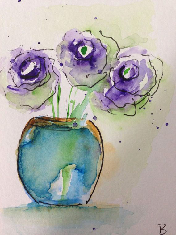 Original Watercolor Watercolour Postcard Picture Art Bouquet