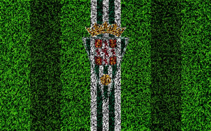 Download wallpapers Cordoba CF, logo, 4k, football lawn, Spanish football club, LaLiga2, green white lines, grass texture, Segunda, Division B, Cordoba, Spain, football, Cordoba FC