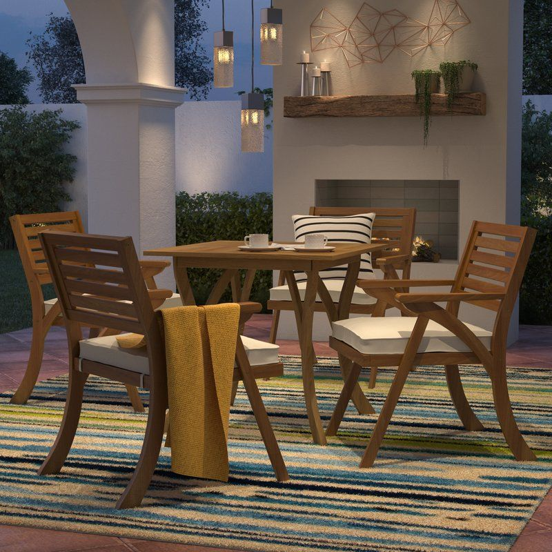 Ajax 5 Piece Dining Set With Cushions Clearance Outdoor Furniture Outdoor Furniture Patio Dining Set