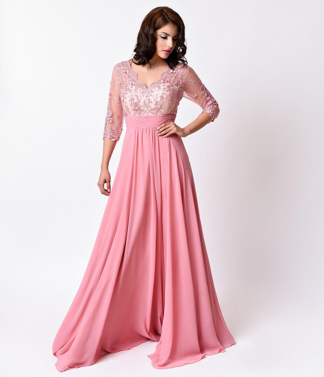 Dusty Rose Pink Sheer Sleeve Empire Waist Long Dress   Fantasy ...