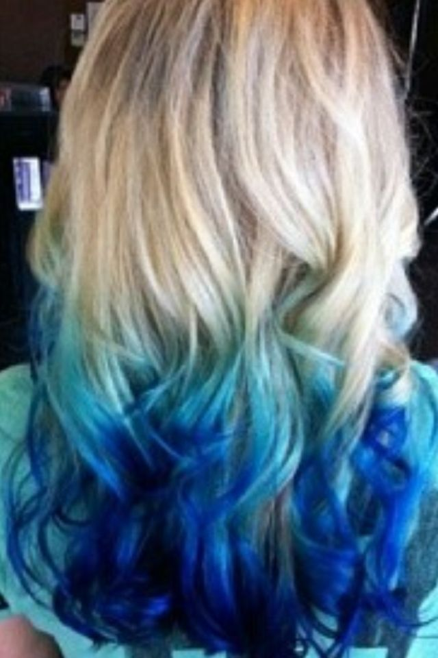 Blonde Hair With Light And Dark Blue Ends Hair Styles Blue