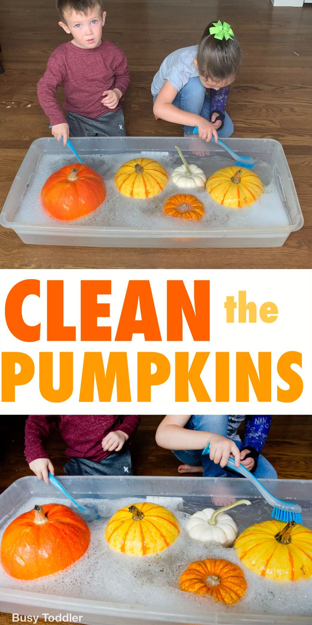 Clean the Pumpkins Fall Toddler Activity - Busy Toddler