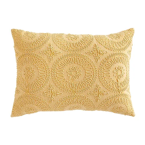 Geometric Circles Yellow Lumbar Pillow In 2020 Geometric Circle