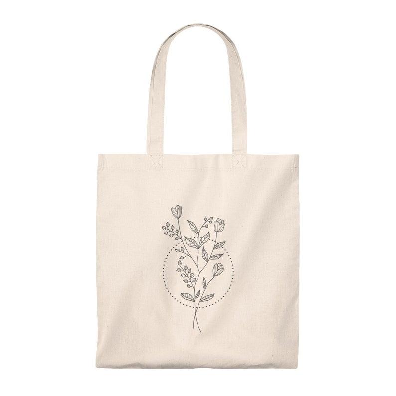Vintage Plant Tote Bag Botanical Illustration Shopping Bag Etsy Tote Bag Canvas Design Canvas Bag Design Canvas Bag Diy