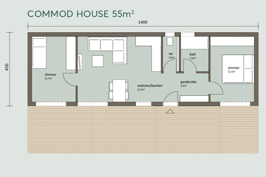 COMMOD HOUSE 40m²/55m² NF Haus grundriss