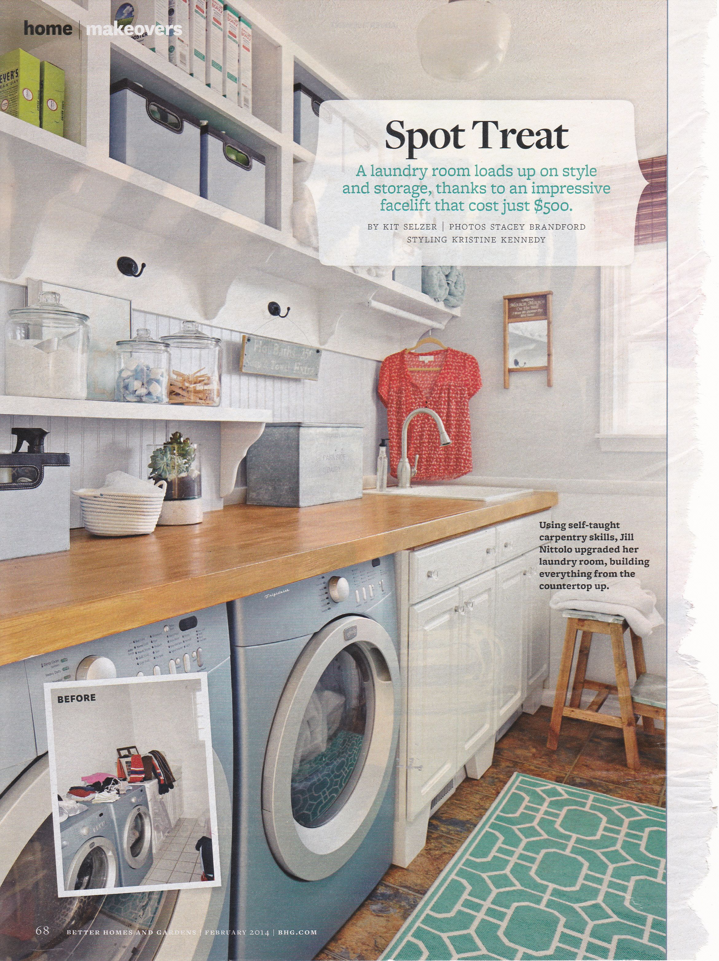 Laundry Room With Open Shelving Hanging Bar For Drying And