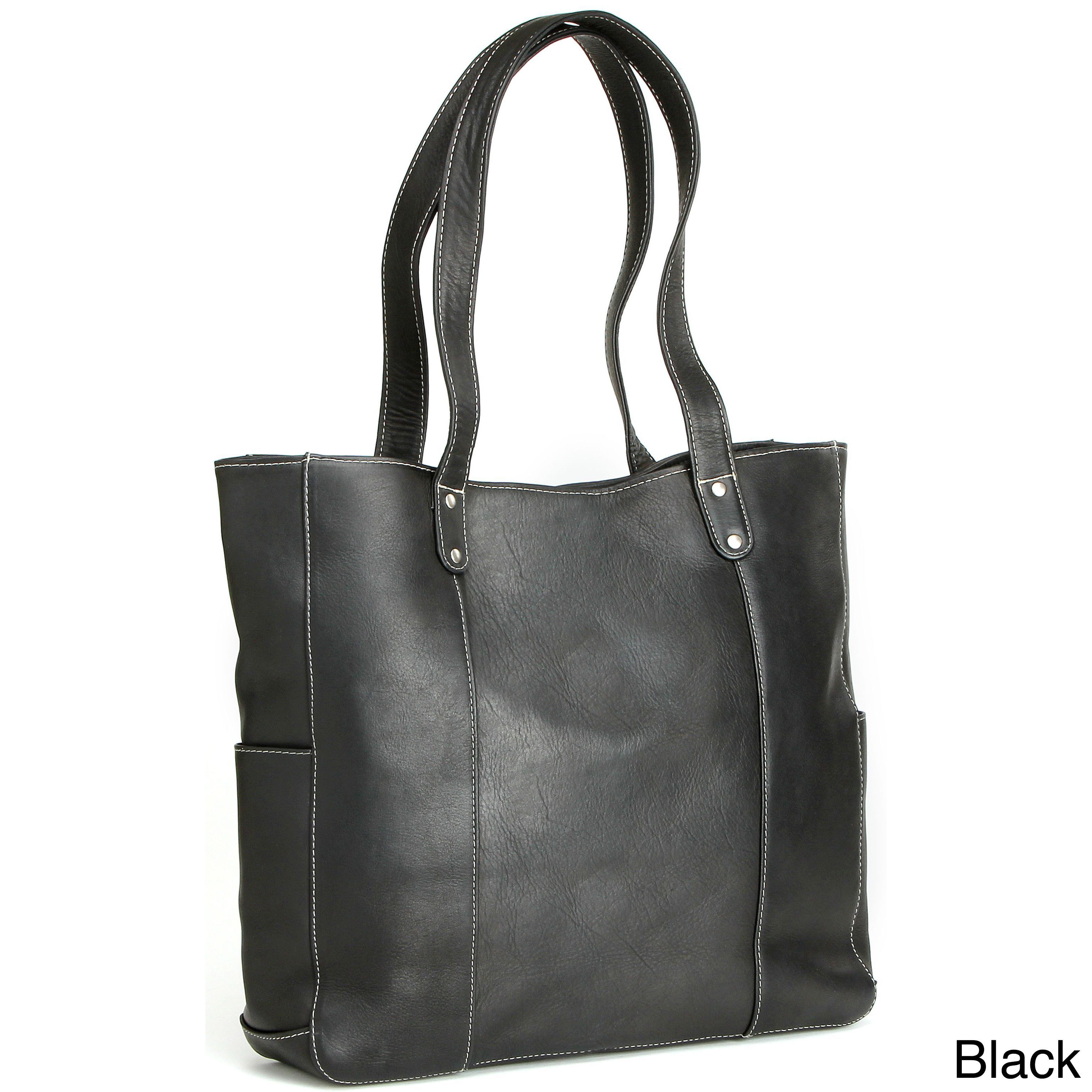 LeDonne Leather Double Strap Rivet Tote Bag (Black) 4dc8fde848226
