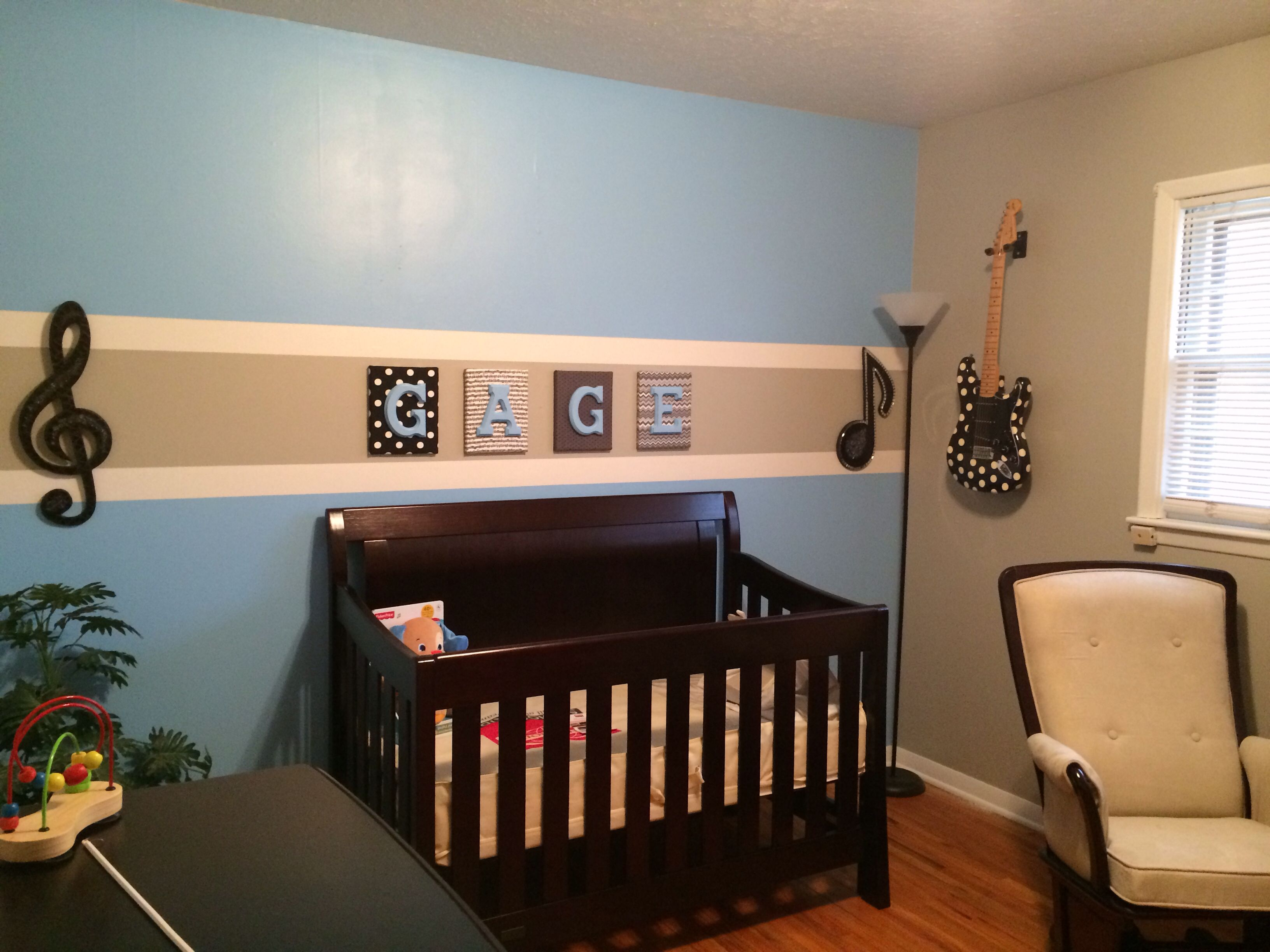 Boys Blue And Gray Nursery Musicguitar Theme But With Logans