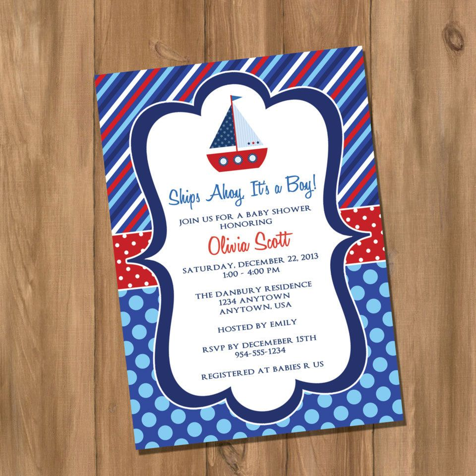 Sail Boat Nautical Invite Idea Could Place A Sail Boat In The Background Of The Invitation