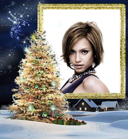 Montaje fotografico Navidad Abeto decorado Regalos - Pixiz