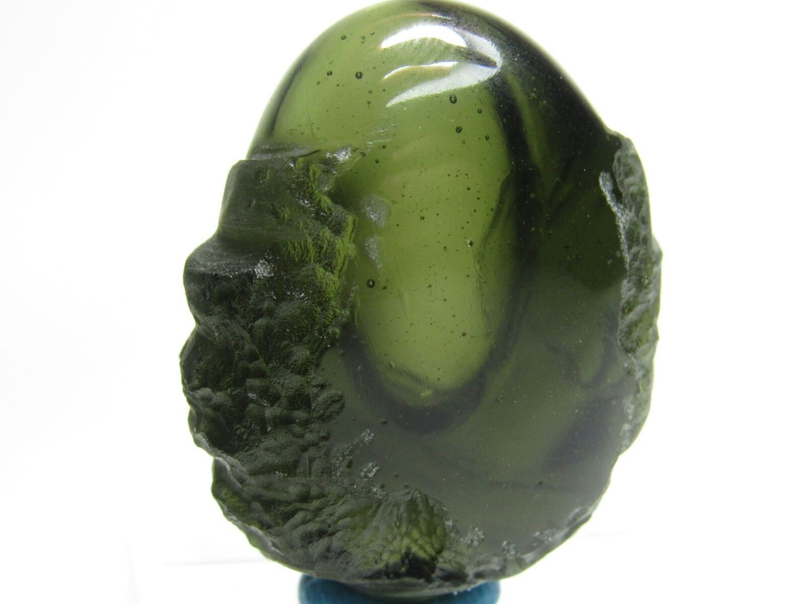 Ultra Exquisite Genuine Moldavite Green Tektite - Masterpiece Carving with Enormous Bubble