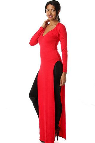 Long Sleeve Double Slit Maxi Top   Icon Clothing