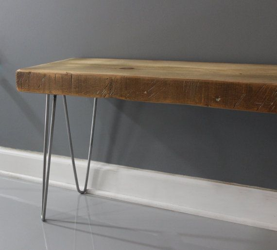 Hairpin Rustic Wooden Bench Reclaimed Wood Bench by DendroCo ...
