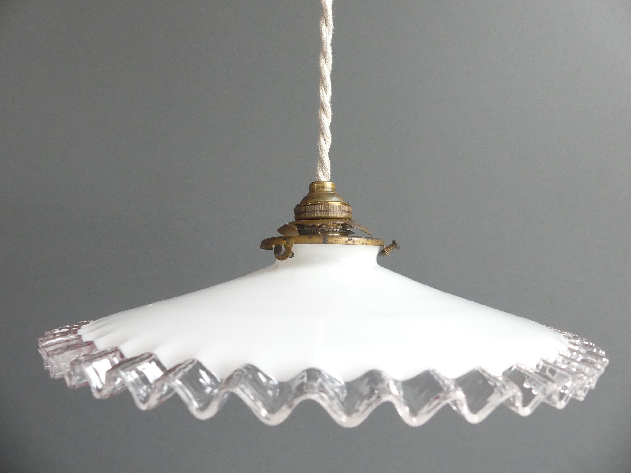 Lampe Opaline Blanche Antique Opaline White Hanging Lamp French 1930 Porcelain