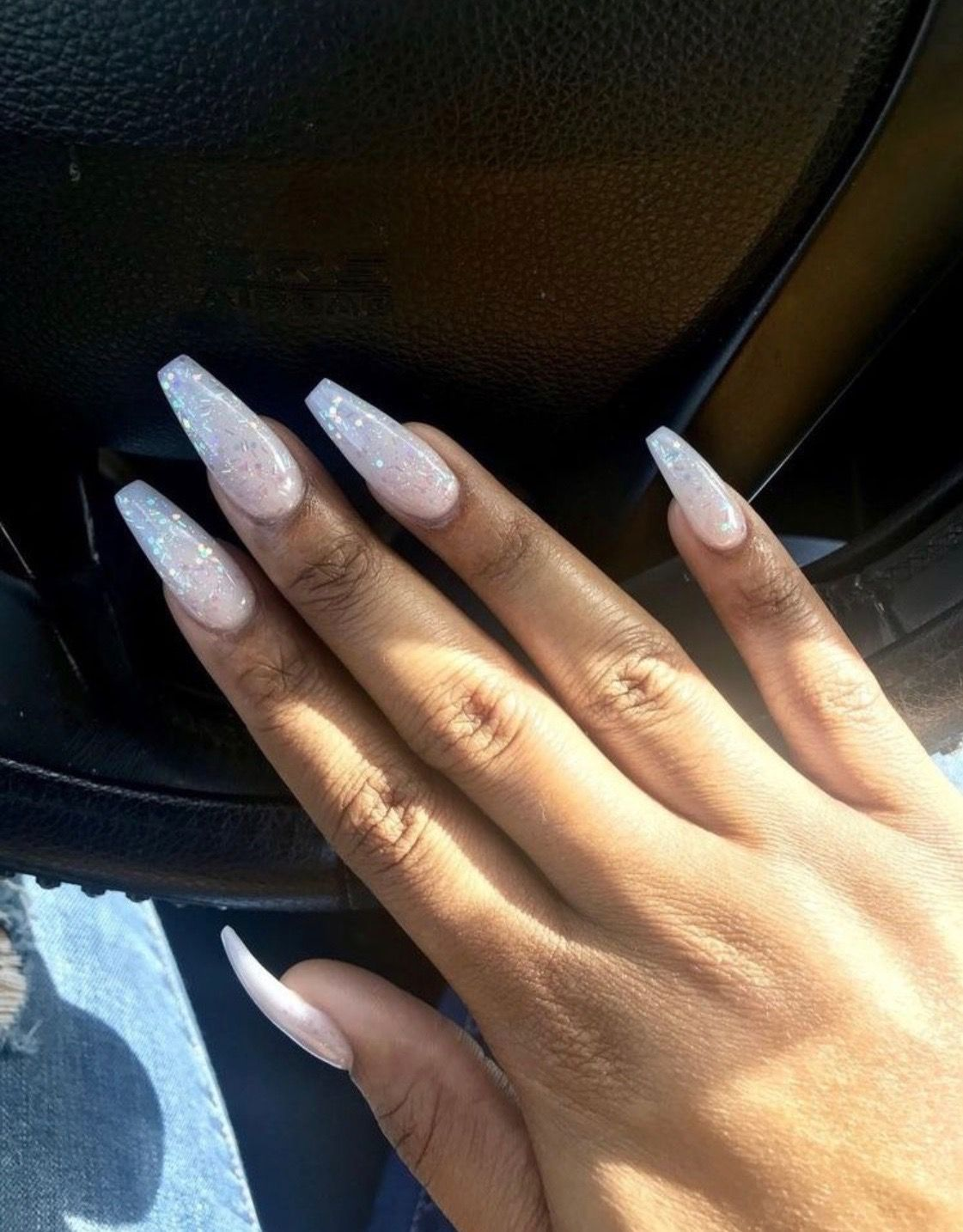 Long Coffin Glitter Summer Time Acrylic Nails Long Nails