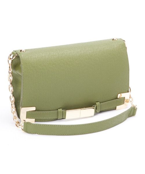 Take a look at the Ivanka Trump Olive & Gold Onyx Saffiano Shoulder Bag on #zulily today!