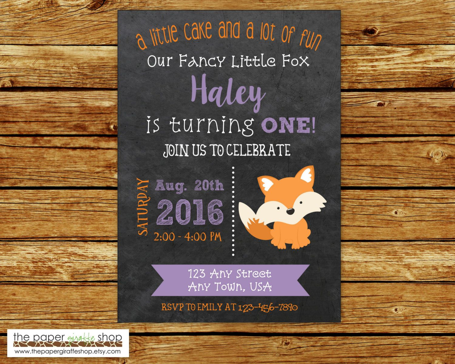 first birthday invitation wordings india%0A Little Fox Invitation for Girls   Fancy Little Fox Birthday Invitation    st  Birthday   First