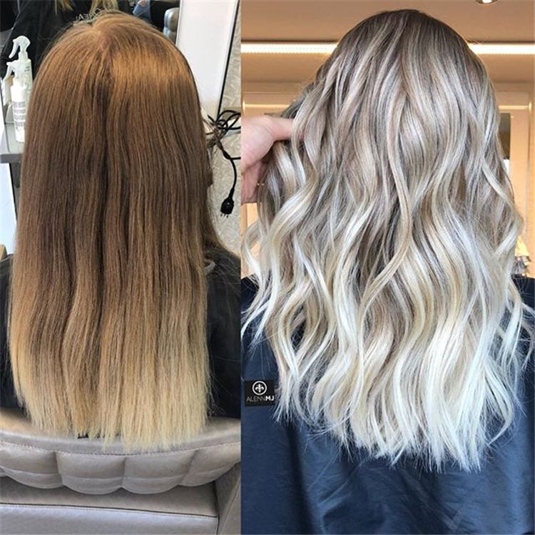 50 Hair Color Trends In 2019 Before After Highlights On Hair
