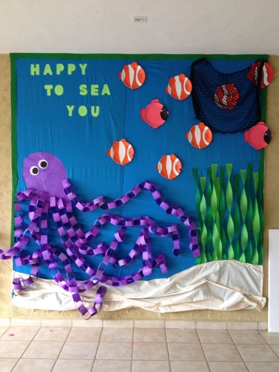 Ocean Classroom Decorating Ideas ~ Happy to sea you bulletin board an under the welcome