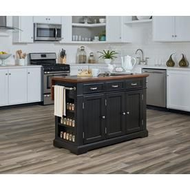 Osp Home Furnishings Farmhouse Basics Kitchen Island In Black
