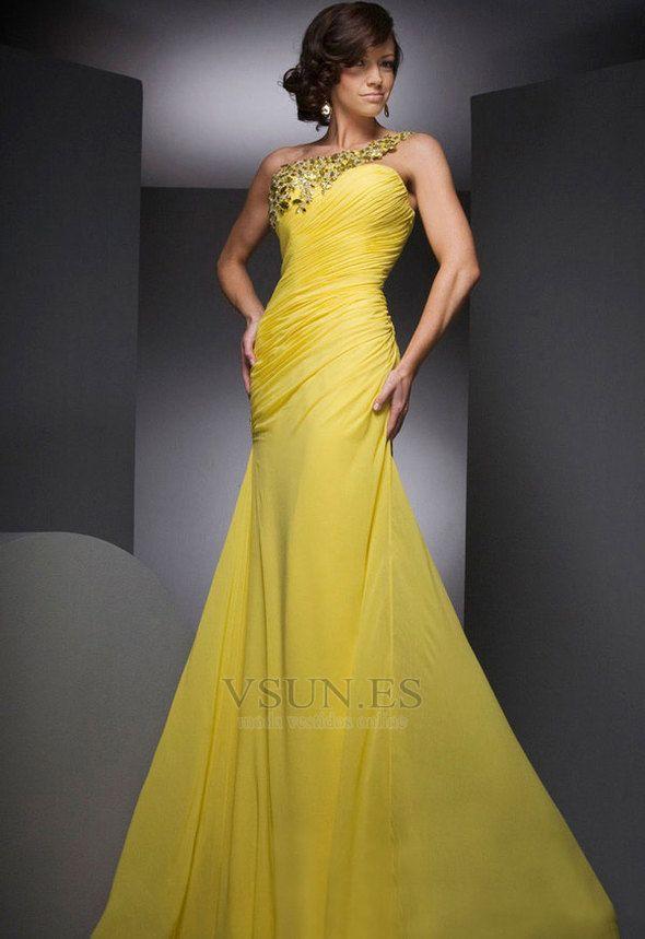 e3b332af13c2 Vestido+de+noche+Gasa+Corte+Sirena+Amarillo+Abalorio+Sin+mangas+ ...