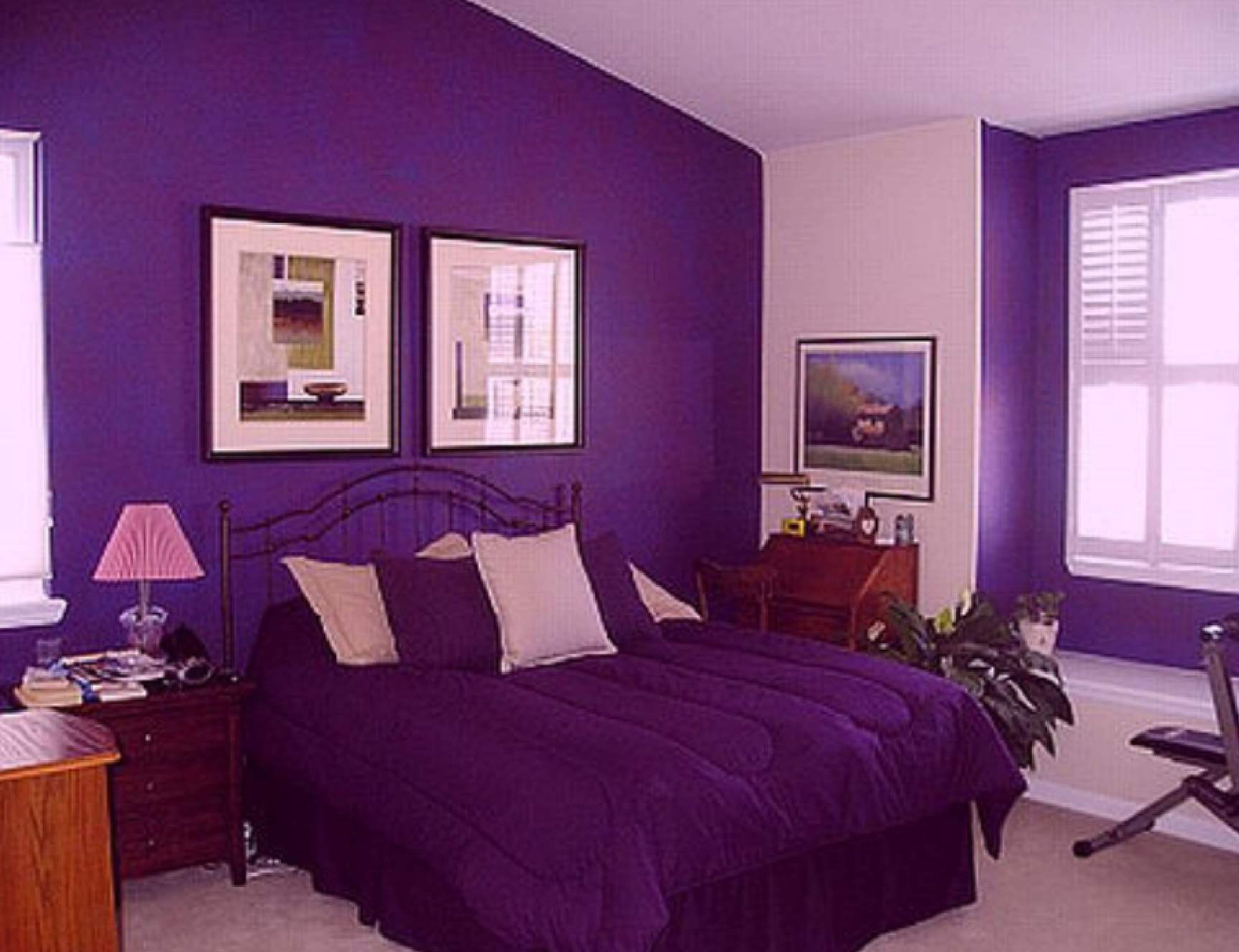 Appealing Black Iron King Bed Frames With Purple Cover Bedding