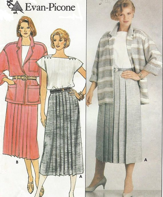 80s Evan Picone Womens Oversized Jacket Front Pleated Skirt | 1980s ...