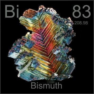 83 Bismuth -Bi- A brittle, hard, shiny silvery metal which is sometimes found in crystalline form. It is resistant to oxidation and has a low melting point.