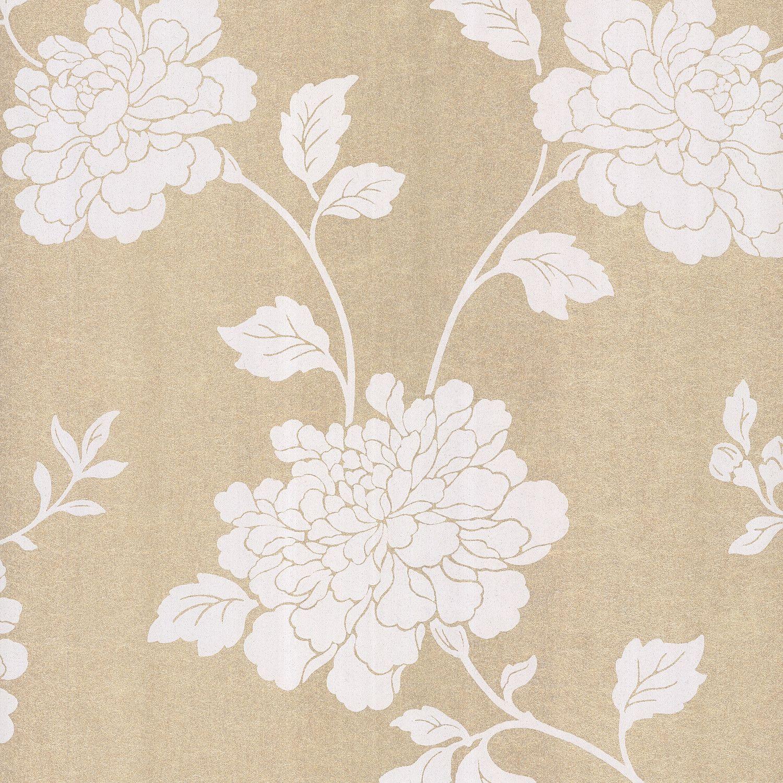 Sand Floral Wallpaper (wayfair) Embossed wallpaper