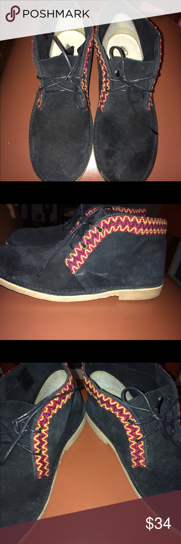 Black Tribal Desert Boots Desert Boots with multicolored tribal print  size 9 Preowned great condition Shoes Ankle Boots & Booties