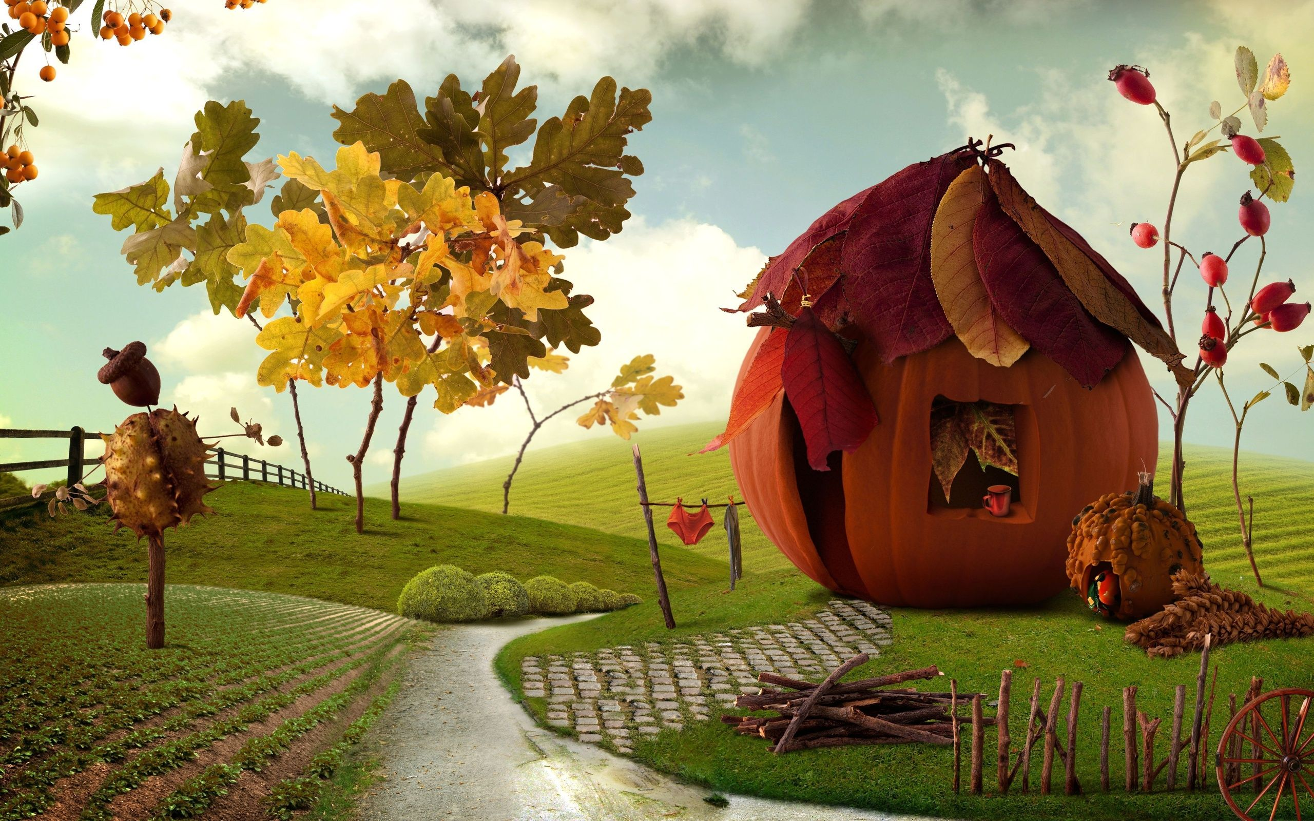 Autumn Art Wallpapers Widescreen With Hd Desktop 2560x1600 Px 1 55 Mb Thanksgiving Wallpaper Thanksgiving Background Colorful Landscape