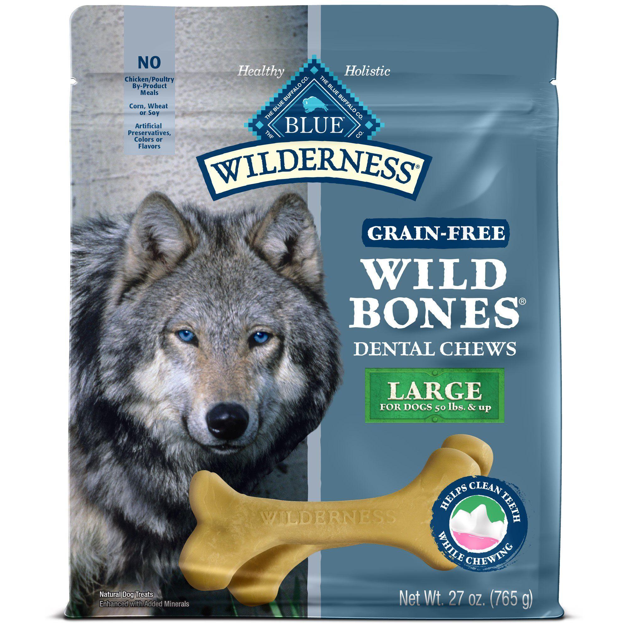 Blue Buffalo Wild Bones Dog Chew Large 27 Oz Dog Treats Grain