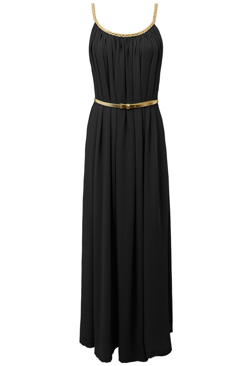 208880e31d2 Black Sleeveless Gold Maxi Dress Greek Style 36 And