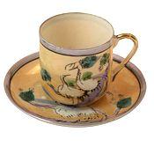 Vintage Eggshell Japanese Peach Hand Painted Coffee Cups & Saucers
