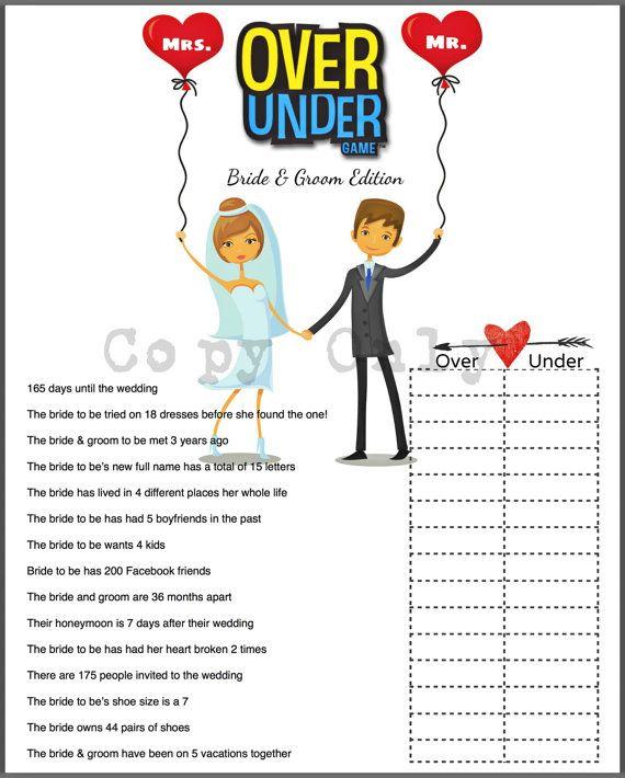 Wedding Shower Game Over or Under Bride Trivia DIY Option A