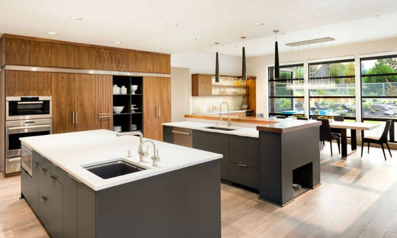 Cozy Kitchen Design With Earth Tones And Dual Modern Islands