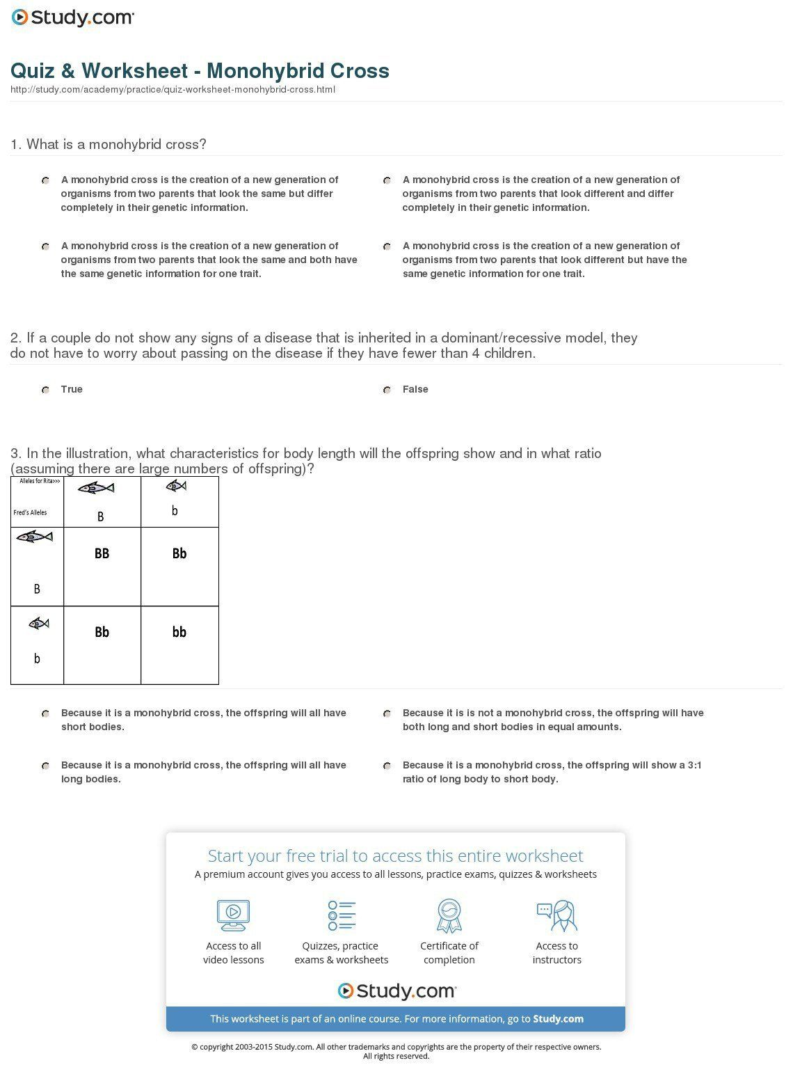 Genetics Monohybrid Crosses Worksheet Answer Key