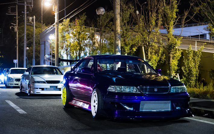 Download Wallpapers Toyota Mark II, Tuning, Stance, Night, Blue Mark 2,  Toyota Besthqwallpapers.com
