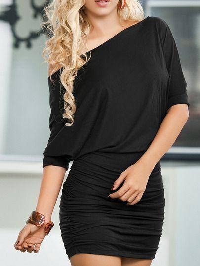 vestido hombro oblícuo tubo-negro