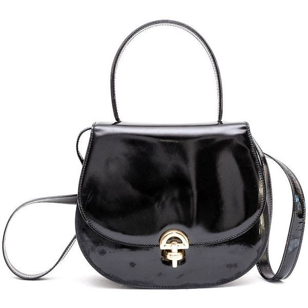 1980s Celine Black Patent Leather Crossbody Bag 325 Liked On Polyvore Featuring Bags Handbags Shoulder Bags Flap Bags Shoulder Strap Bag Flap Handbags