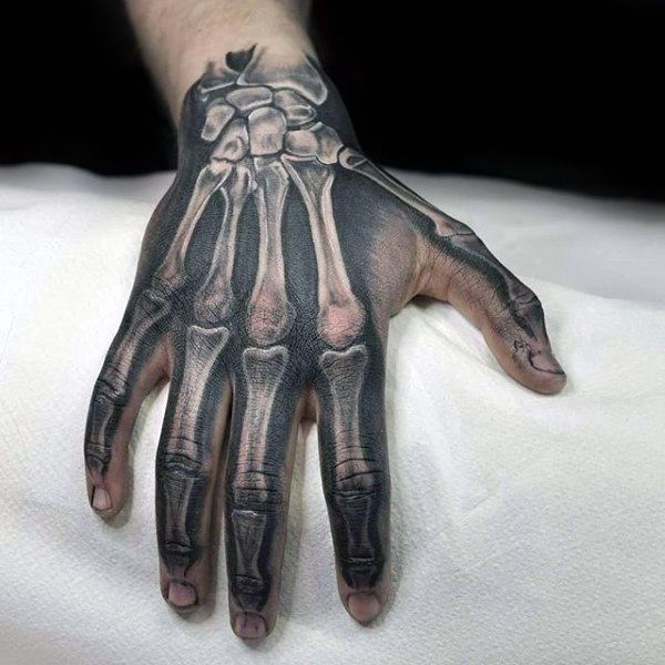 And Black Ink Anatomical Bones Skeleton Hand Tattoo Ideas For Men Hand Tattoos For Guys Tattoos For Guys Skeleton Hand Tattoo