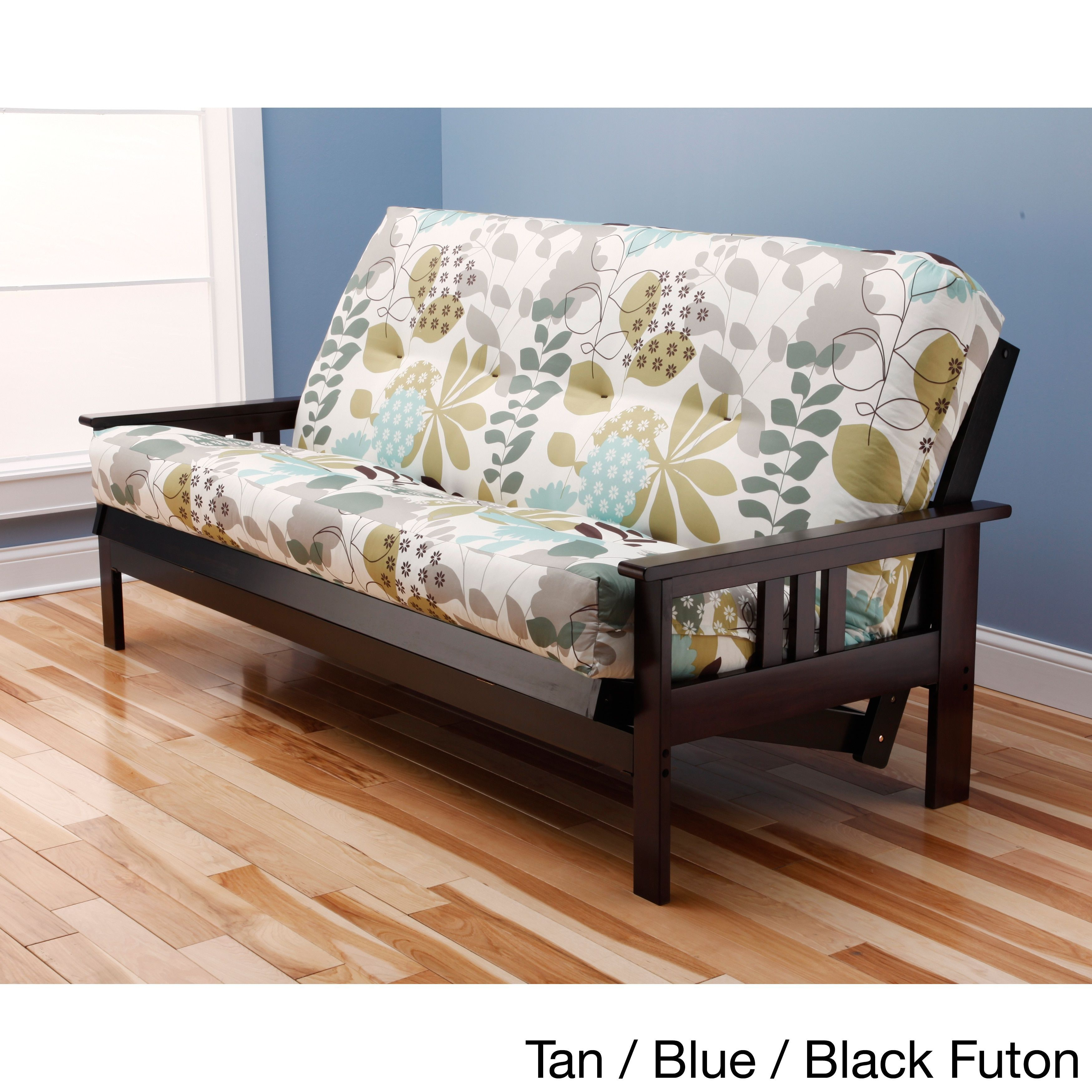 Somette Innerspring Multi Flex Espresso Full Size Wood Futon Set Green Blue