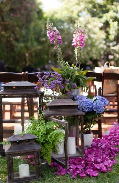 Mixed berry colored flowers in a outdoor vignette - D'Amore Photography and hidden garden