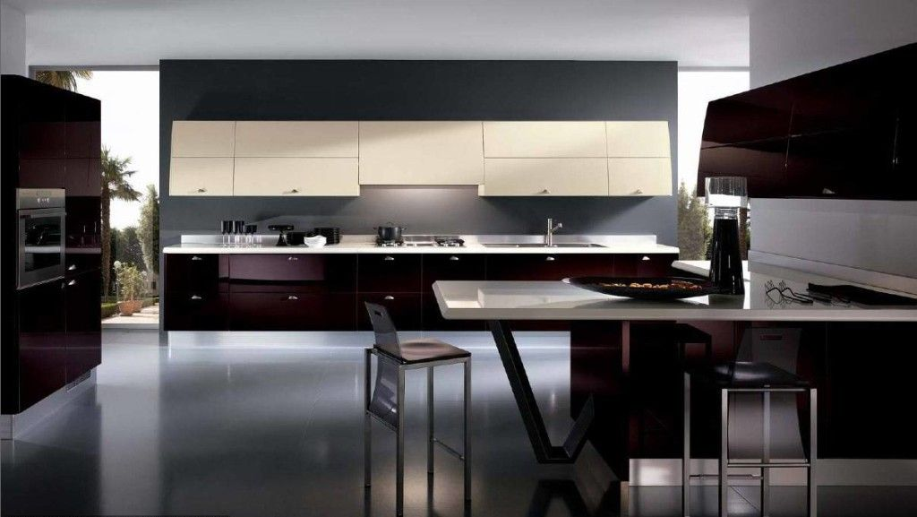 Modern Kitchen Accessories And Decor glossy maroon kitchen cupboard modern elegant dark kitchens
