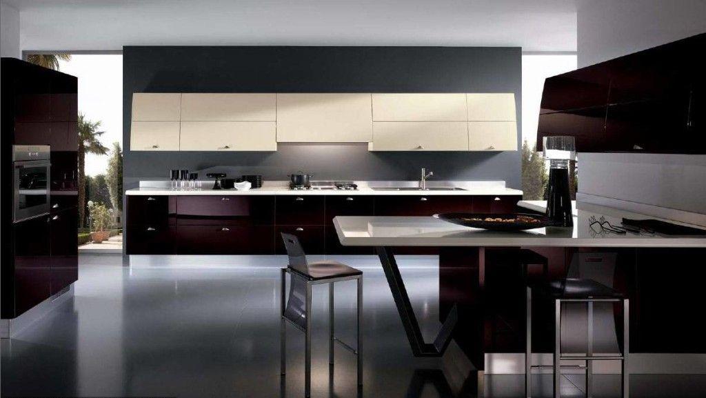 Modern Kitchen Design Ideas 2014 Part - 19: Kitchen: Elegant Dark Kitchens Design And Inside Dark Red Kitchen Cupboard  Modern Elegant Dark Kitchens: White And Silver Elegant Kitchen Units