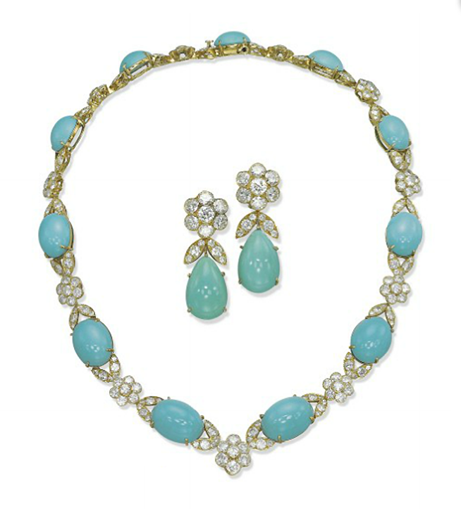 A SET OF TURQUOISE AND DIAMOND 'MAZURKA' JEWELLERY, BY VAN CLEEF & ARPELS  The necklace designed as a line of graduated cabochon turquoises alternating with brilliant-cut diamond flower and leaf links, a pair of ear pendants en suite, 1978, necklace 40.0 cm, earrings 3.8 cm, with French assay marks for gold  Signed Van Cleef & Arpels, nos. 28717 (necklace) and 28624 (earrings)