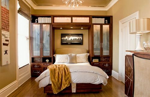 Luxurious Small Bedroom   Brown   White   Wooden Built In Surround Storage  And Overhead Lighting