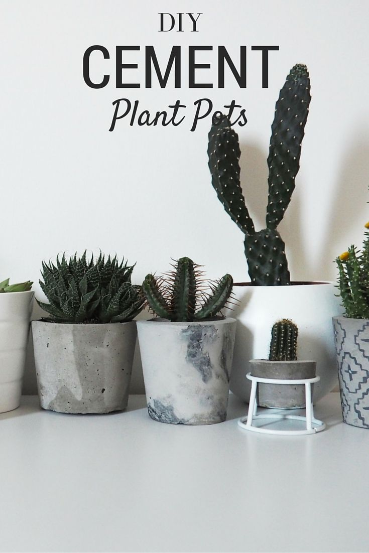 Diy Marbled Cement Plant Pots Clay Crafts Cement