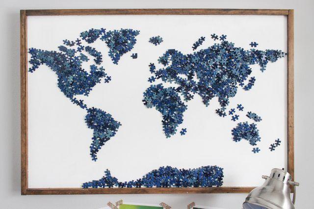 Reutilizar peças de puzzle - Mapa mundo / Upcycling puzzle pieces ...
