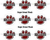 INSTANT DOWNLOAD Bulldogs Paw Print   1 inch Circle Bottlecap Images 4x6 sheet